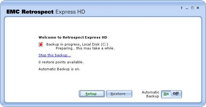 Retrospect express hd updating status