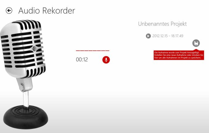 Audio Recorder für Windows 10