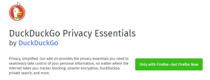 DuckDuckGo Privacy Essentials per Firefox