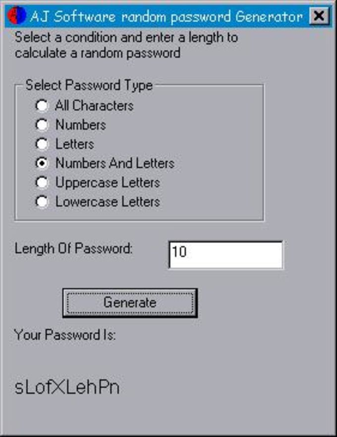 AJ Random Password Generator