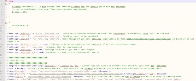 PHP Sitemap Generator Script