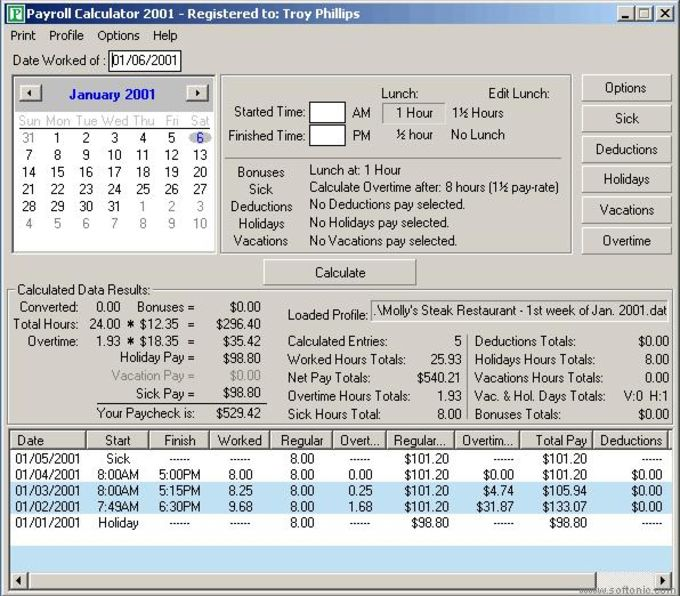 Payroll Calculator 2002