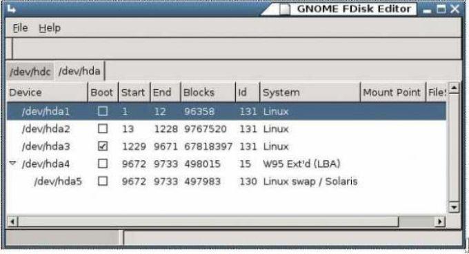 GNOME FDisk Editor