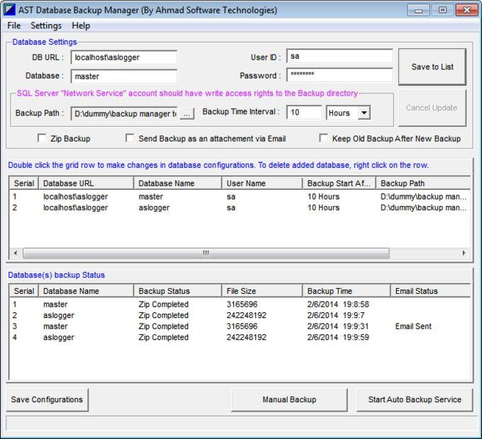 Database Backup Manager