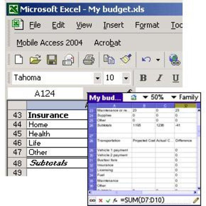 Mobile Spreadsheet 2004