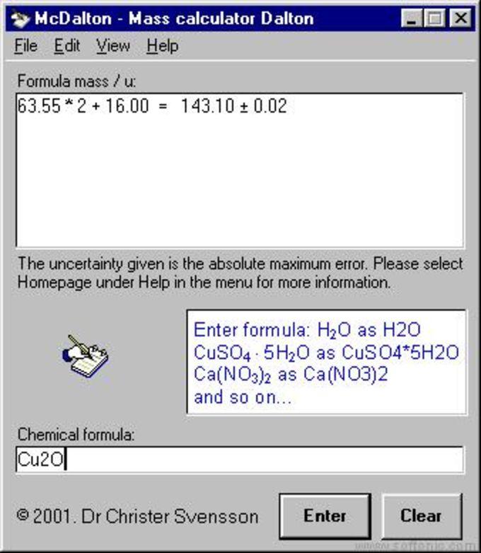 McDalton - Mass Calculator Dalton