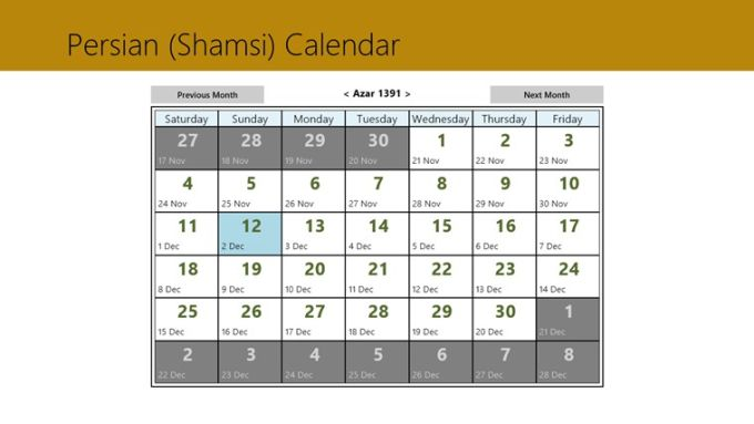 Persian calendar for Windows 10
