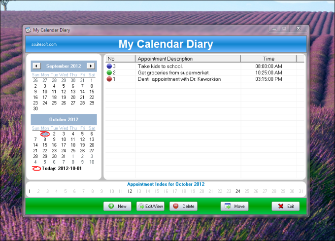 SSuite My Calendar Diary