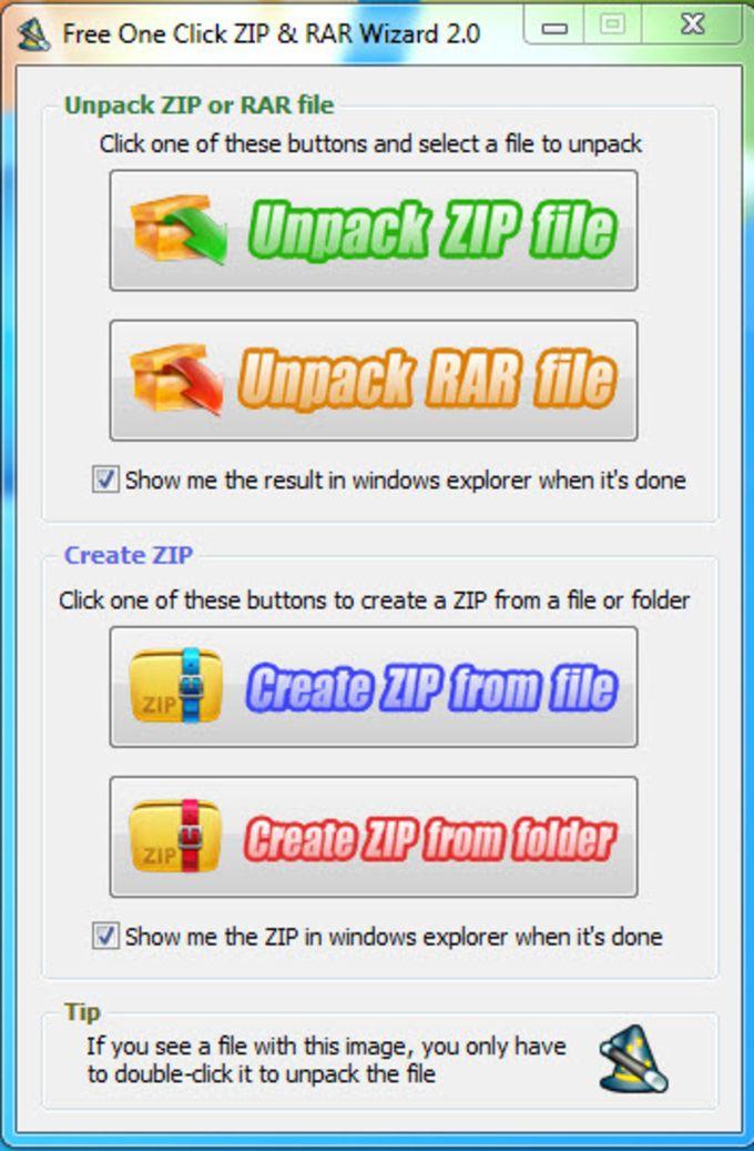 Free One Click ZIP & RAR Wizard
