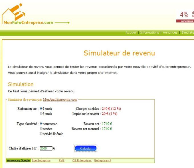 Simulateur de revenu Autoentrepreneur