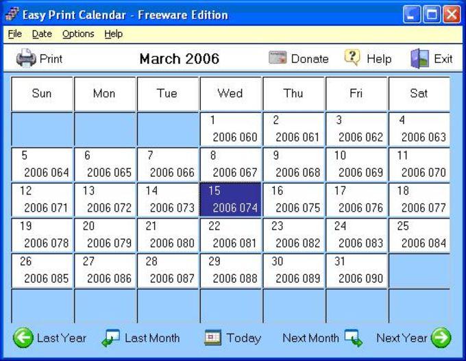 Easy Print Calendar