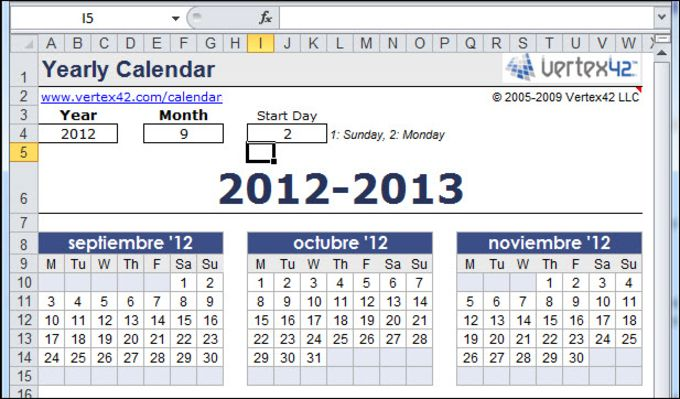 Free Yearly Calendar Template