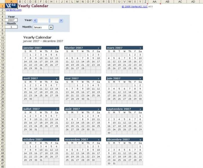 Plantilla de calendario anual en Excel - Download