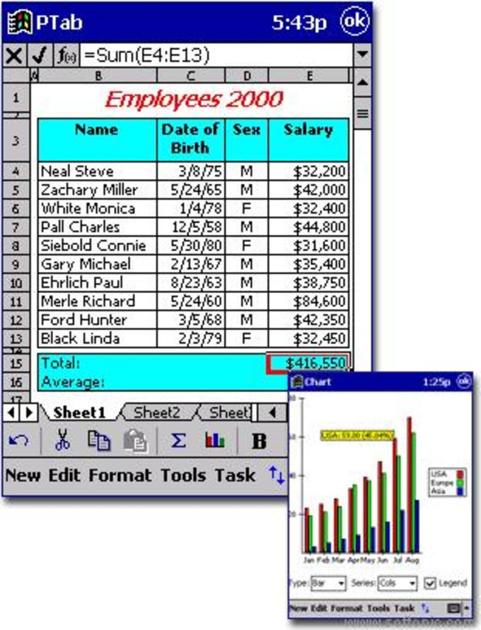 PTab Spreadsheet