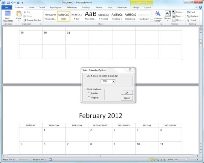 2012 12-Month Basic Calendar