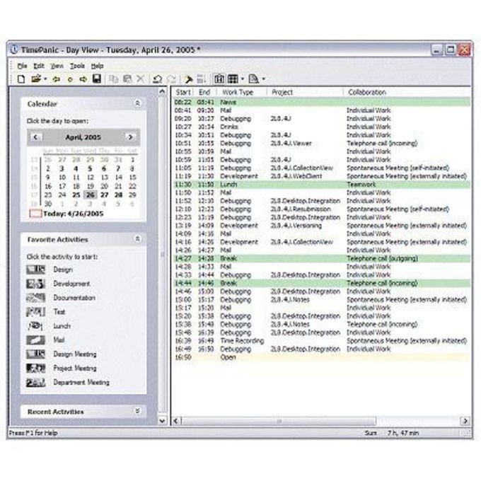 TimePanic for PocketPC