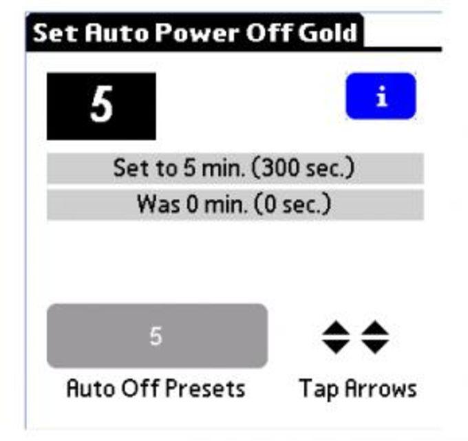 Set Auto Power Off Gold