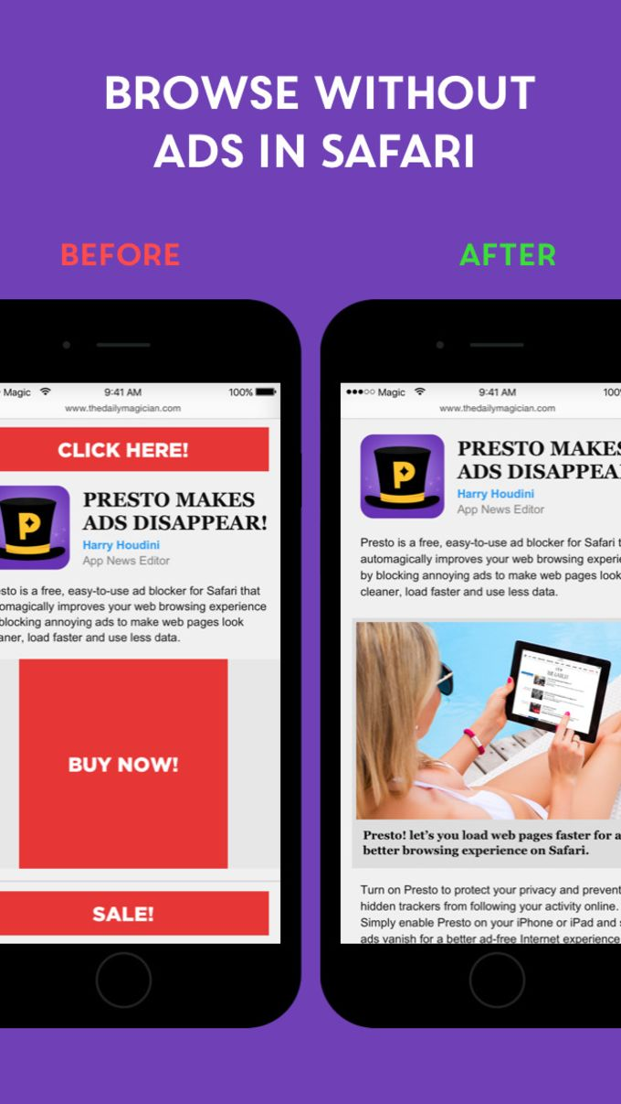 Presto - Free Adblock. Stop ads, protect your iPhone, load pages fast & save data