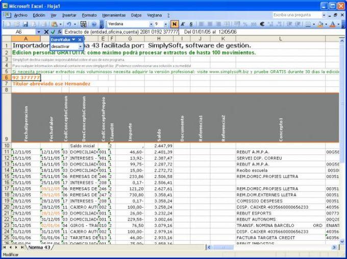 Exporta Norma 43 a Excel