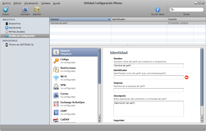 Utilidad Configuración iPhone