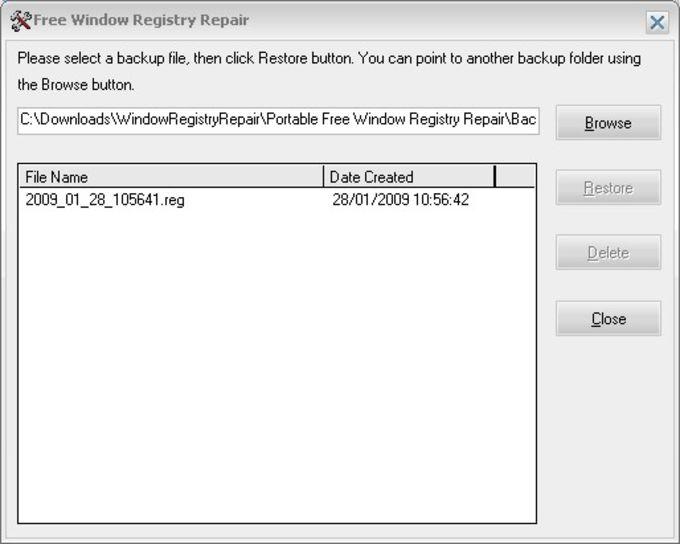 Free Window Registry Repair Portable