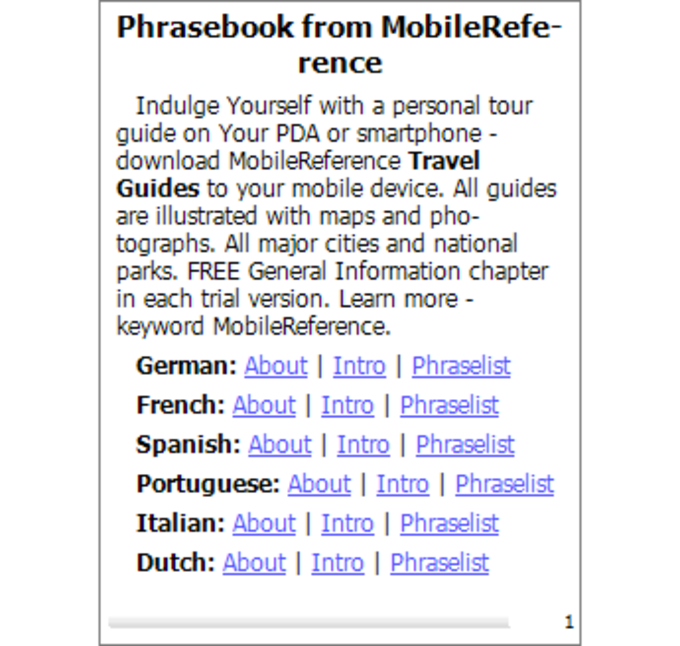 Free 20 Language Phrasebook