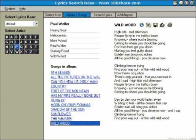 Lyrics Search Base