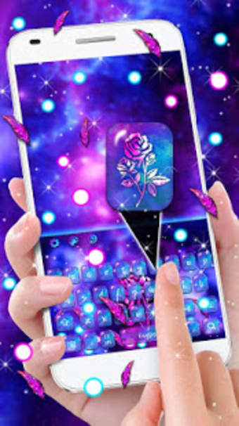 Luxury Galaxy Rose Keyboard Theme