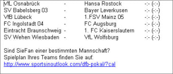 DFB-Pokal Spielplan