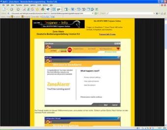 Deutsche Bedienungsanleitung für ZoneAlarm