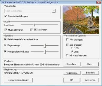 Goldener Herbst 3D Bildschirmschoner