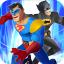 Superhero Man Fighting City Crime Battle