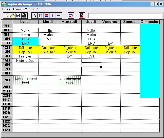 Sehr Emploi du temps - Télécharger QY26