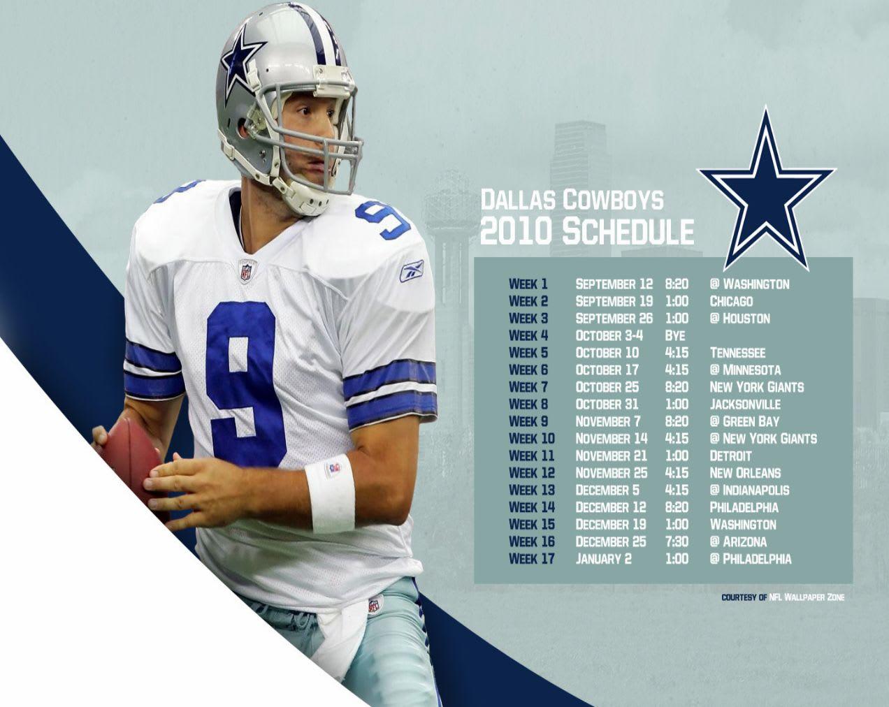 2010 Dallas Cowboys Schedule Wallpaper