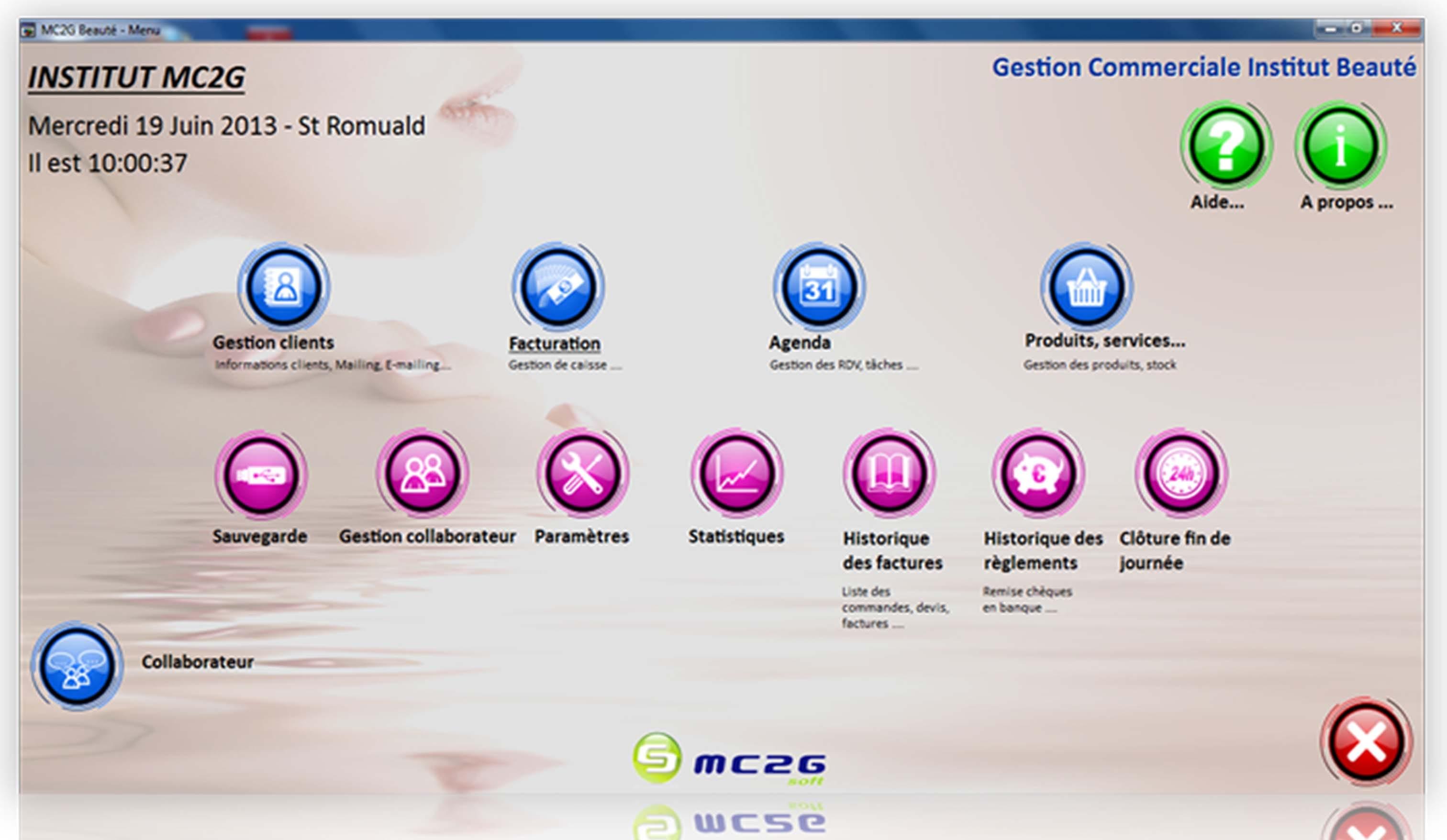 Logiciel institut de beauté MC2G