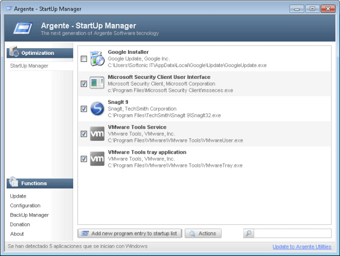Argente - StartUp Manager Portable