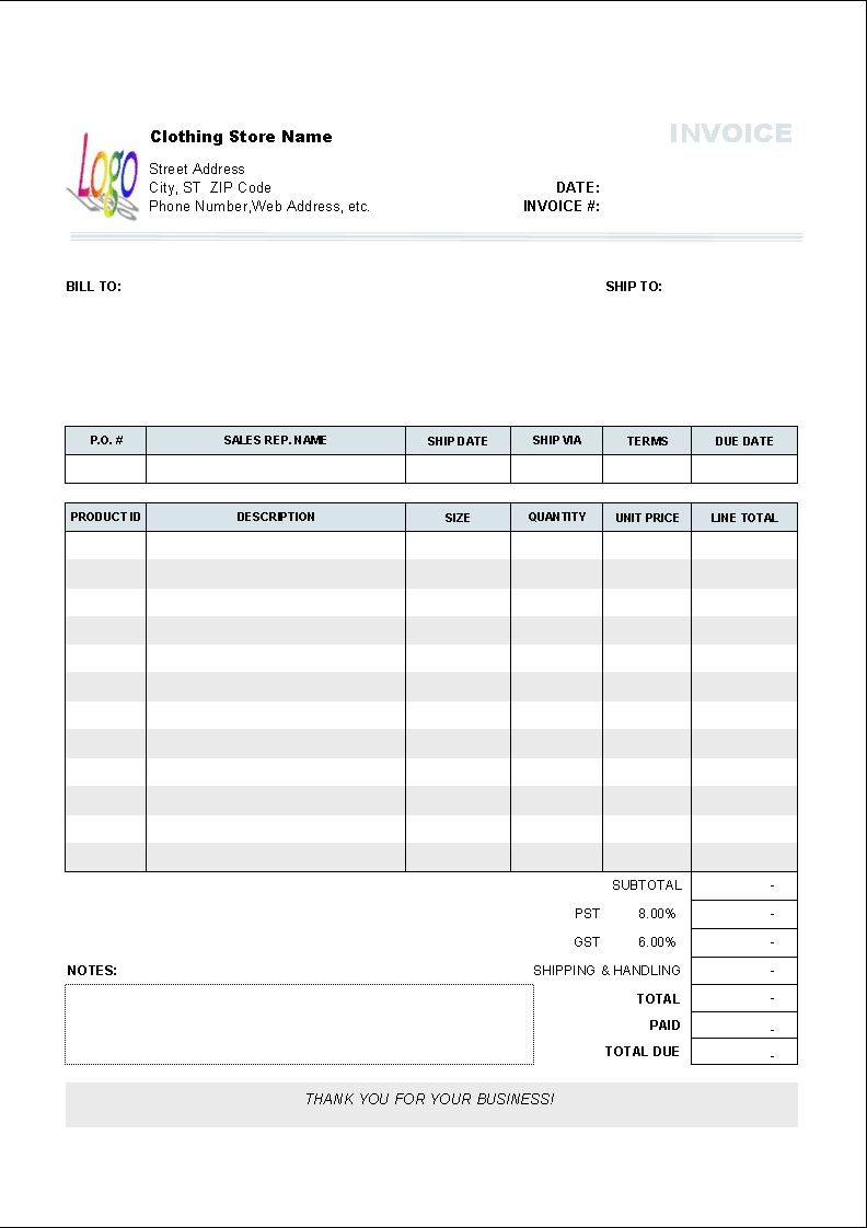 Clothing Store Invoice Template