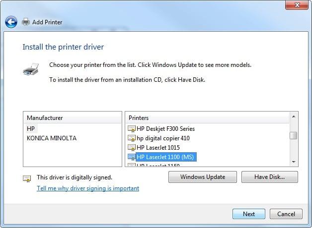 Hp 1100 драйвер Windows 7 X64