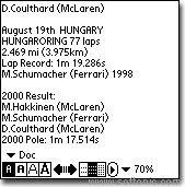 2001 F1 Info for Palm
