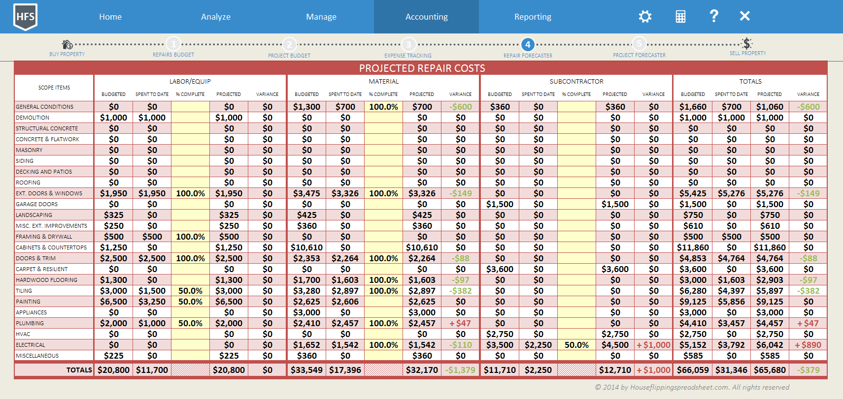 home accounting spreadsheet
