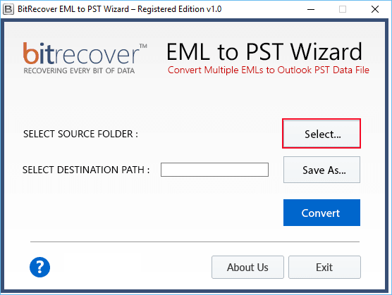 BitRecover EML to PST Wizard