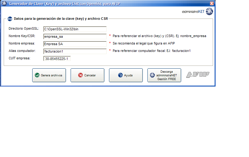 Generador key csr OpenSSL para AFIP