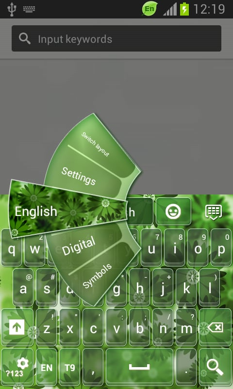 GO Keyboard Green Flowers