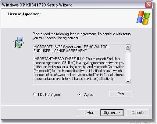 Microsoft Sasser A-F Worm Removal Tool