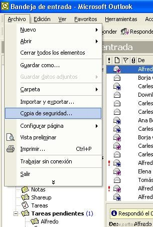 Copia de seguridad de carpetas personales de Outlook