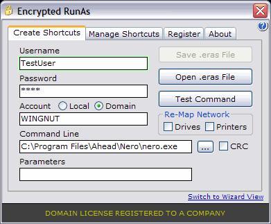 Encrypted RunAs