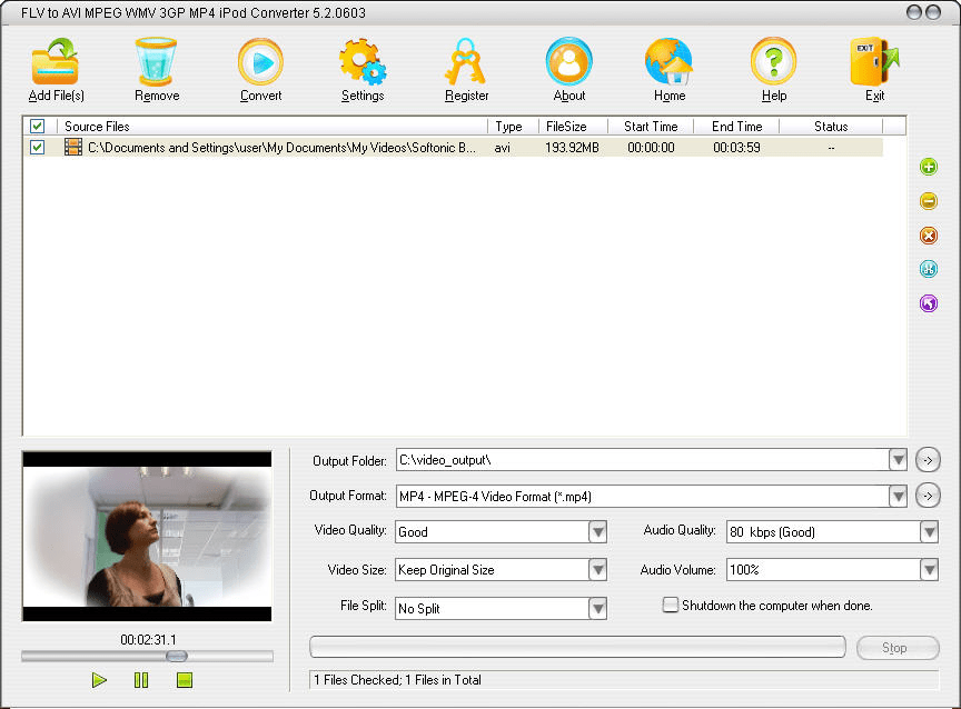 Free flv to mp4 converter.
