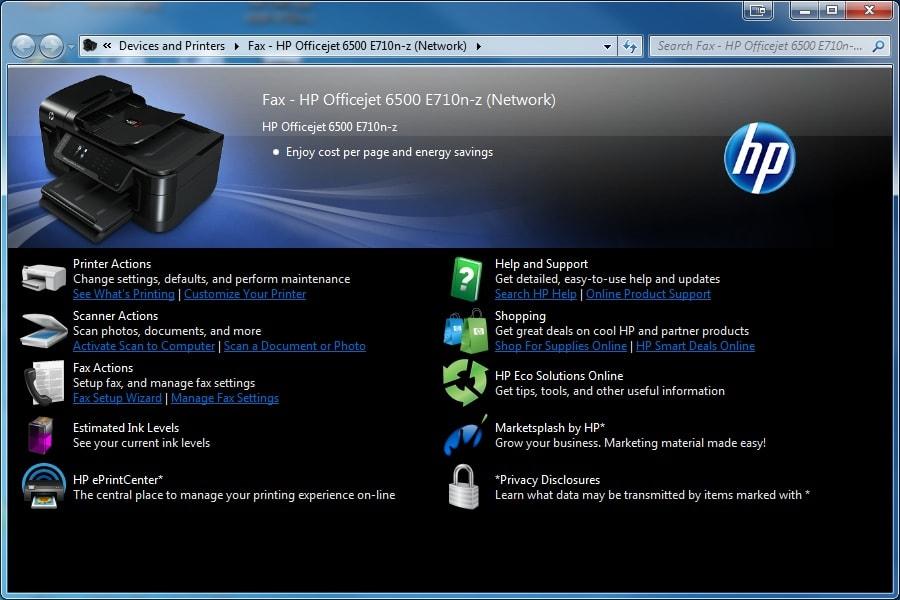 HP Officejet 6500 Printer E709a Driver