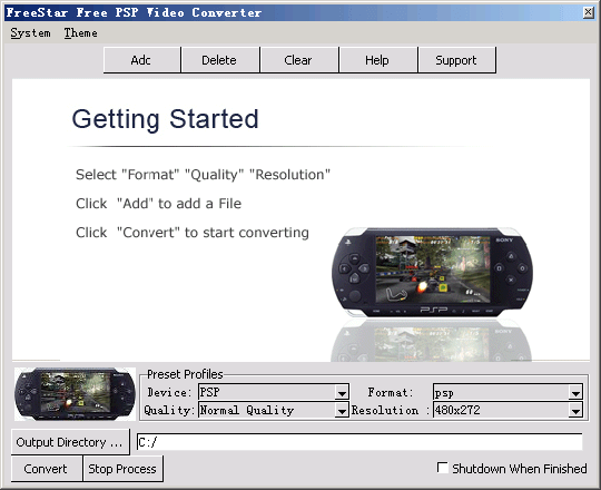 FreeStar Free PSP Video Converter