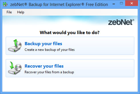 zebNet Backup for Internet Explorer Free Edition